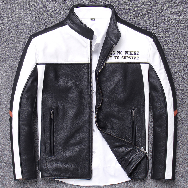 Head Layer Genuine Clothing Stand Lead Short Fund Motorcycle Halley Locomotive Cycling Wear Male Leather Cowhide