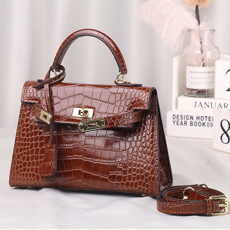 New Arrival Genuine Leather Women's Fashion Bag Luxury High Quality Leather Shoulder Bag Crossbody Bag Alligator Print Pattern