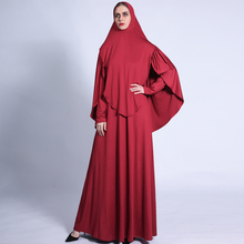 Muslim Women 2 Two Piece Sets Milk Silk Jersey Large Hijab Cap With Long Sleeve Prayer Dress Islamic Clothes  Fashion Suits 2021