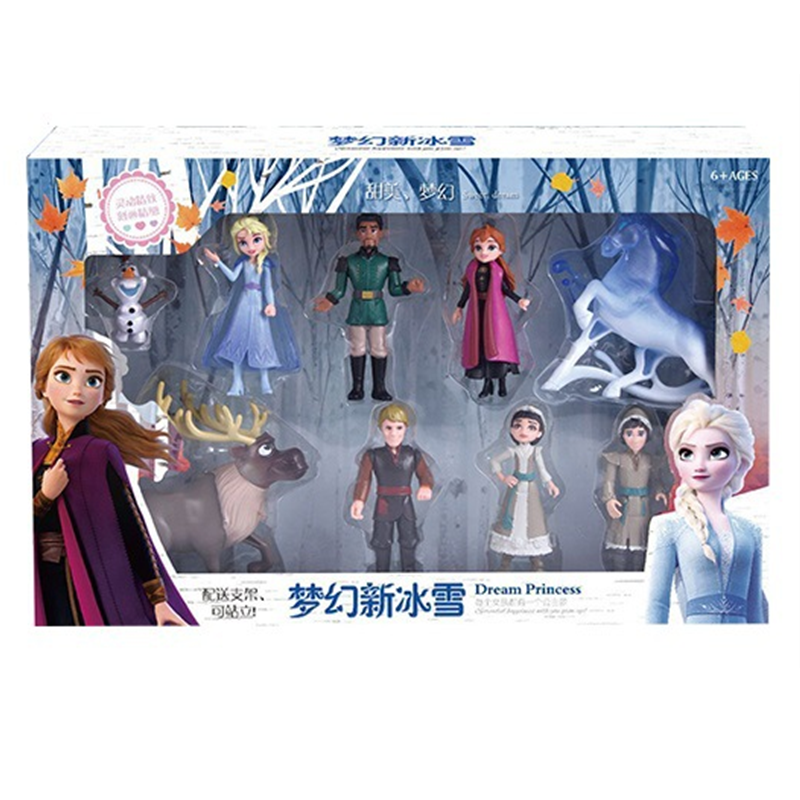 HOT 1set Disney Frozen 2 Snow Queen Elsa Anna PVC Action Figure Olaf Kristoff Sven Anime Dolls Figurines Kids Toy Children Gift