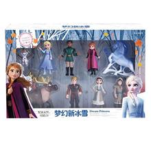 Quente 1 conjunto congelado 2 neve rainha elsa anna pvc figura de ação olaf kristoff sven anime bonecas figurinhas crianças brinquedo presente