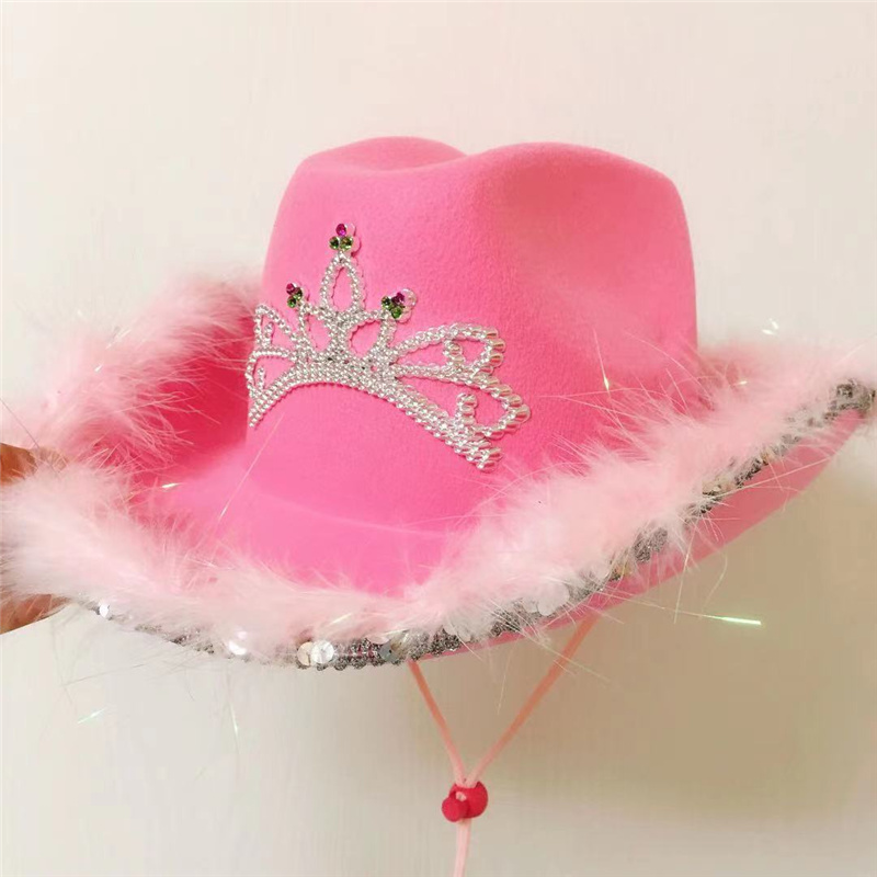 Western Style Tiara Cowgirl Hat For Women Girl Pink Tiara Cowgirl Hat Cowboy Cap Holiday Funny Costume Party Hat Wholesale