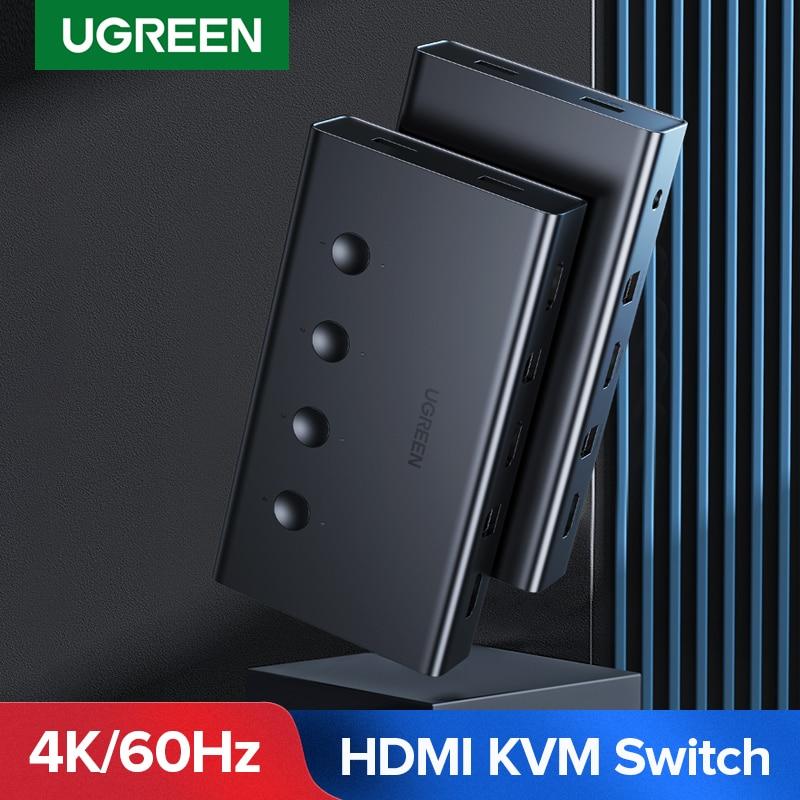 Квм-Консоль HDMI Ugreen, выключатель 4 в 1 для Xiaomi Mi Box, 4 шт., совместное использование клавиатуры и мыши, 4 порта, 4K/60 Гц, HDMI KVM-переключатель