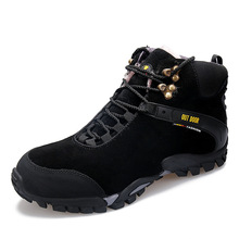 Winter Cotton-padded Shoes with Velvet Men Outdoor Hight-top Hiking Genuine Leather Warm Athletic