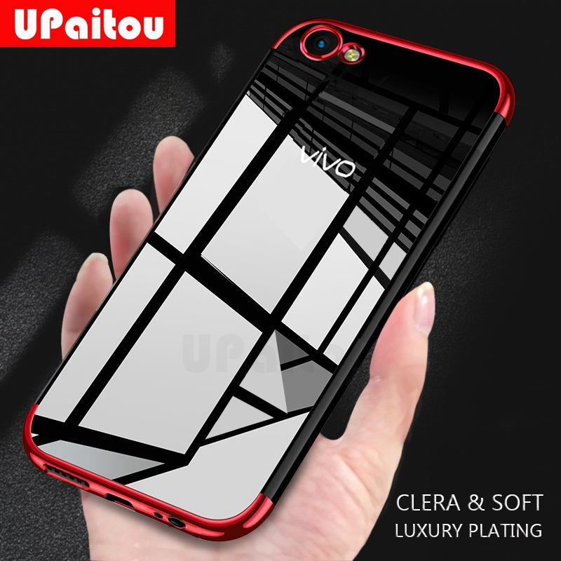 UPaitou Luxury Plating <font><b>Case</b></font> for <font><b>VIVO</b></font> <font><b>Y69</b></font> Y67 Y66 Y55L Y55S Y55 Y53 Y51 TPU Soft Silicone Clear Frame Transparent Back Cover <font><b>Case</b></font> image