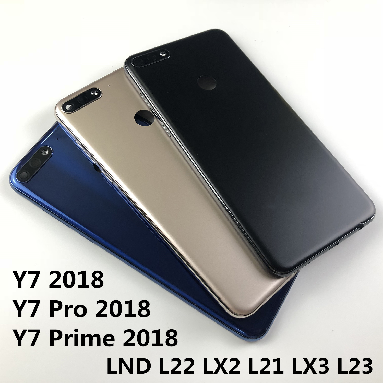 For Huawei Y7 2018/Y7 Pro 2018/Y7 Prime 2018 Housing Battery Cover Back Cover+rear Camera Glass Lens+Power Volume Buttons+logo