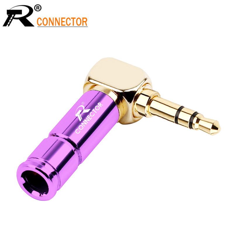 Jack 3.5mm Right Angle Earphone plug 3Pole Gold-plated Wire Connector Fit for 6mm Cable DIY Play 100pcs