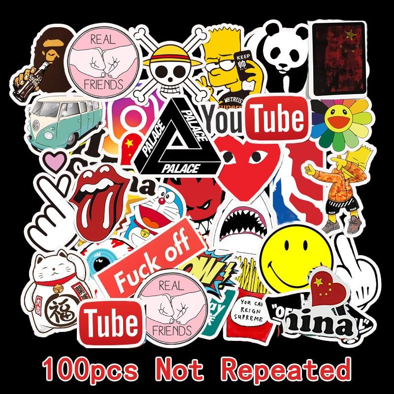100PCs PVC Sticker Car Stickers And Decals Tide Brand Logo Decorative Graffiti Motorcycle Sticker Stationery Cute Stickers