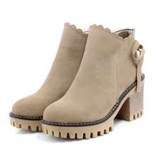 Women Ankle Boots Martin Boots Classic British Style Winter Flock Warm Women Shoes 002