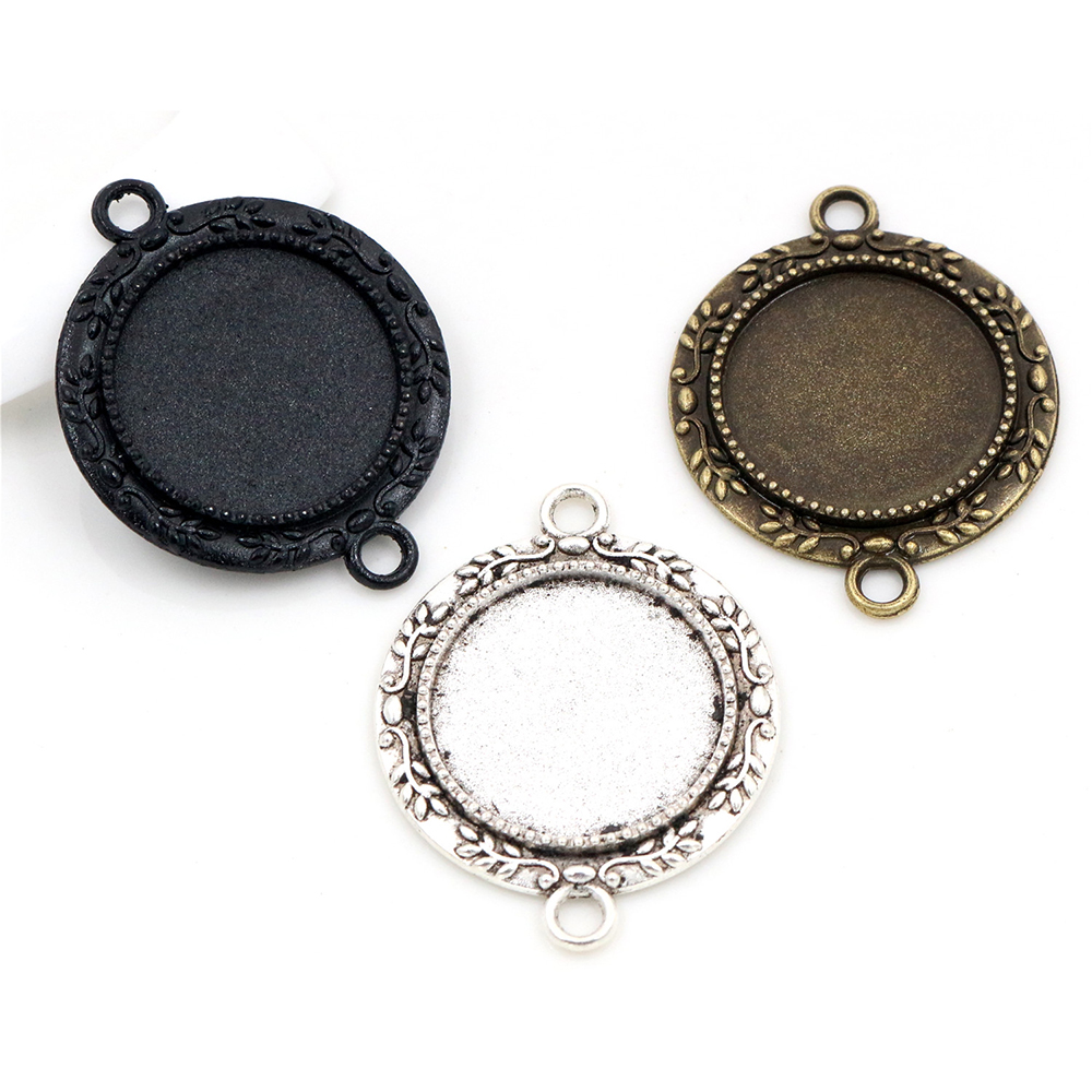 10pcs 20mm Inner Size Antique Bronze And Antique Silver Plated And Black Flower Style Cabochon Base Setting Charms Pendant