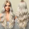 ALAN EATON Long Body Wave Ombre Brown Blonde Synthetic Wigs for Women Natural Middle Part Cosplay Fake Hair Heat Resistant Fiber