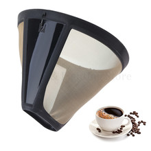 Reusable Coffee Filter 10-12 Cup Cone-Style Maker Machine Gold Mesh Handle Tool
