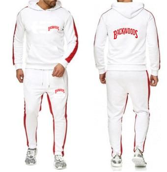 2020 Men's Sportswear Set Winter Fleece Hooded Print + Pants Sweatshirt Men's 2-Piece Hoodie Sportswear Jacket