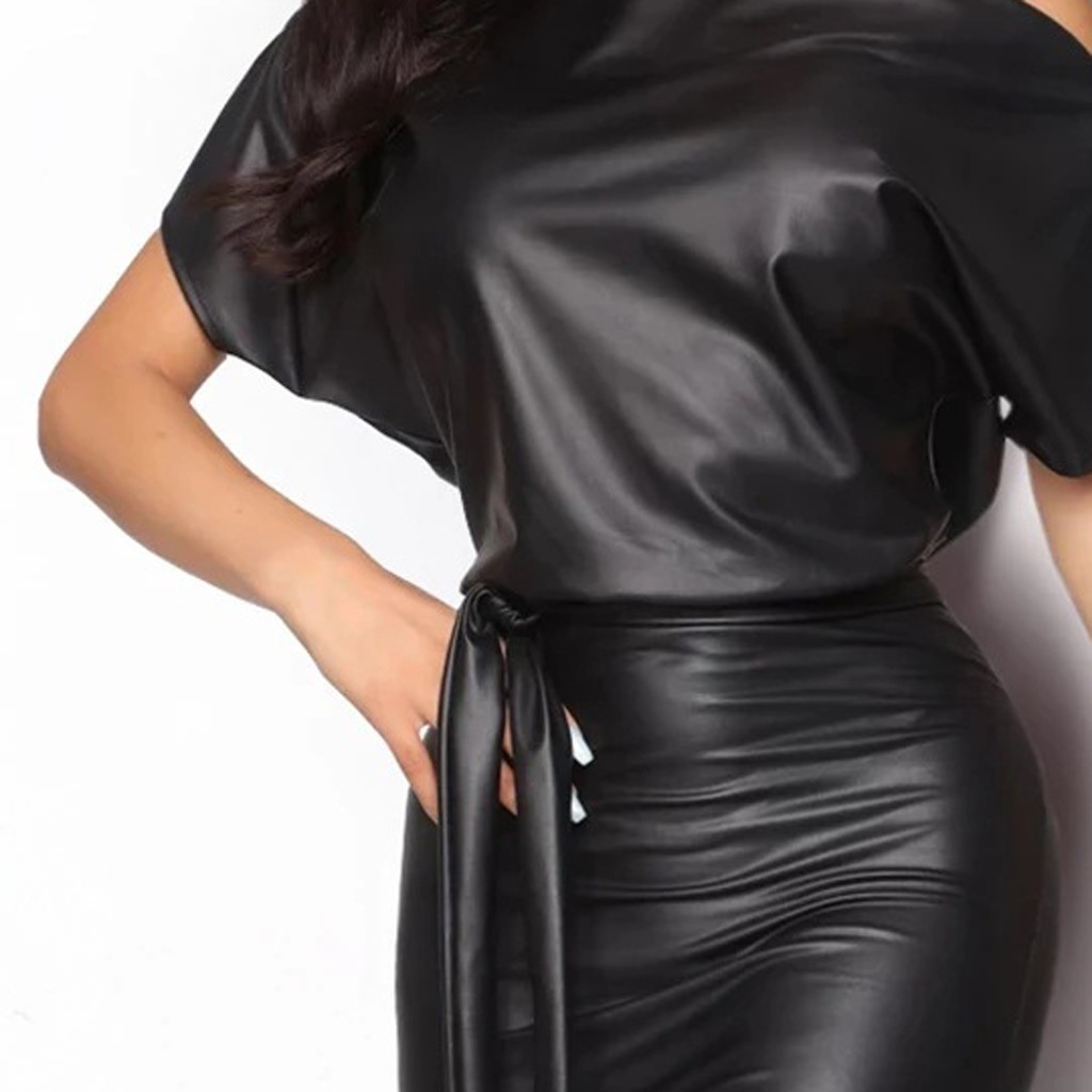 vestido de mujer Fashion Women Short Sleeve Solid Color Print Long Bat Dress Ladies Leather Dress