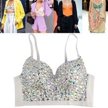 Bra Vest Bustier-Top Party-Corset Glitter Rhinestone Bralette Colored Club Push-Up Sexy