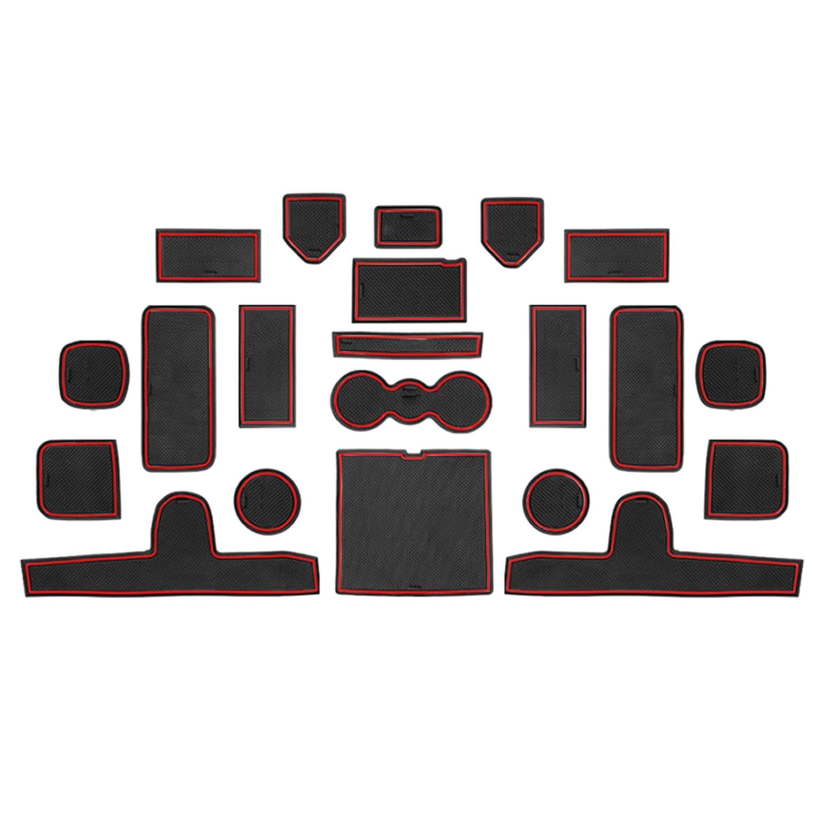 Color : Red JUZZQ For OPTIMA 2016 2017 2018 2019 Car Groove Non-Slip Mat Door Slot Pad Interior Rubber Mats Door Slot Pad Cup Holder Mat Rubber 15pcs