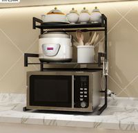 Kitchen countertop retractable microwave oven shelf multifunctional rice cooker double storage frame accessories organizer