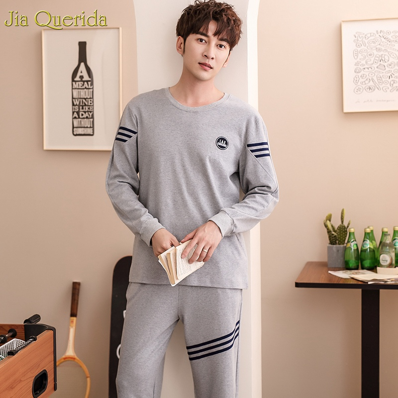 Sleepwear 100% Cotton O-collar Long Sleeves Autumn Bottom-tied Trousers Solid Gray Pajamas For Men 2019 New Fashion Pajama Mens