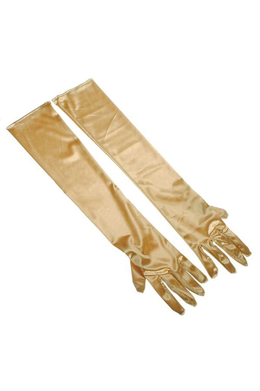 22inch Women's Long Satin Elbow Gloves Evening Party-gold