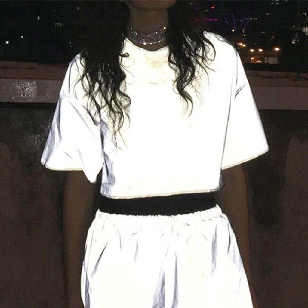 Fashion Reflective T-Shirt Crop Top Casual Summer tshirt Lady O-Neck Tunic Tops Female Women Short Sleeve Shirt Blusas Pullover