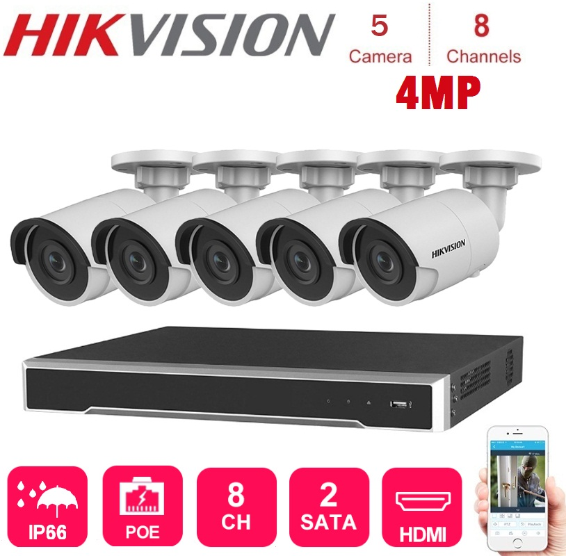 4K 8 Channels Hikvision Poe Nvr With 5 Sets 4MP Ip Camera Network Security Night Vision Video Surveillance System kits image