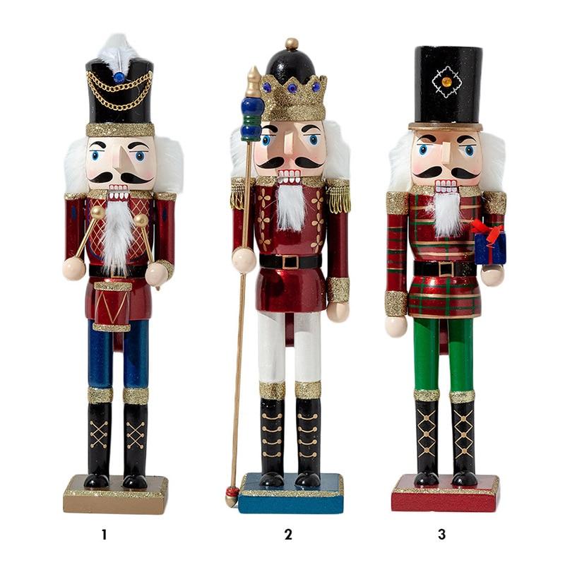 38cm Wooden Nutcracker Soldier Miniature Figurines Vintage Doll Handcraft Puppet Classic Puppet Christmas Ornaments Home Decor