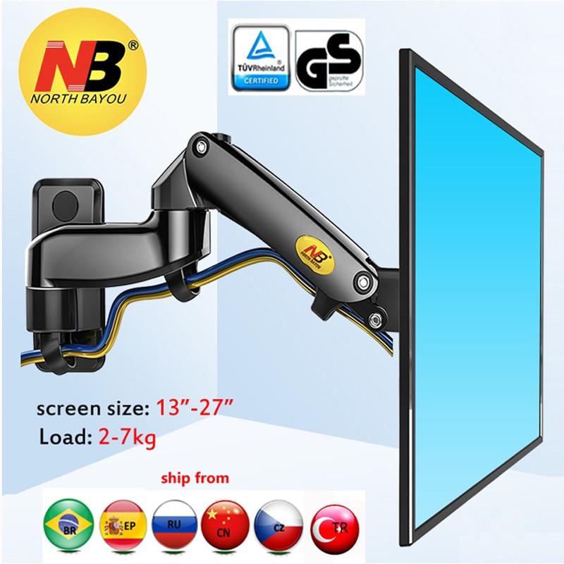 "NB F150 2-7kg 100x100 soporte monitor wall mount screen aluminum good gas spring air press 13""-27"" TV wall bracket holder(China)"