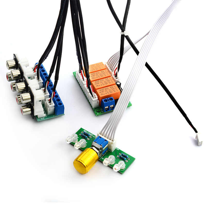 Relay 4-Way Audio Sinyal Input Selector Beralih RCA Audio Input Pilihan Papan Rotary Beralih untuk Amplifier