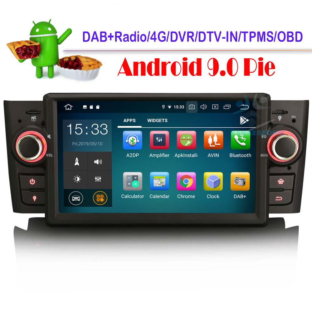 "7"" Octa Core Android 9.0 DAB+ Autoradio WiFi Radio GPS Navigation NAVI Canbus DVD RDS OBD DVT IN Bluetooth for FIAT Punto Linea