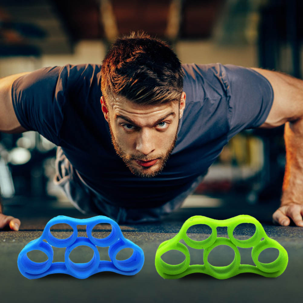 Galleria fotografica 6pcs Silicone Finger Stretcher Trainer Fitness Exercise O-ring Hand Grip Gripper Strengthener Set Workout Sports Equipment