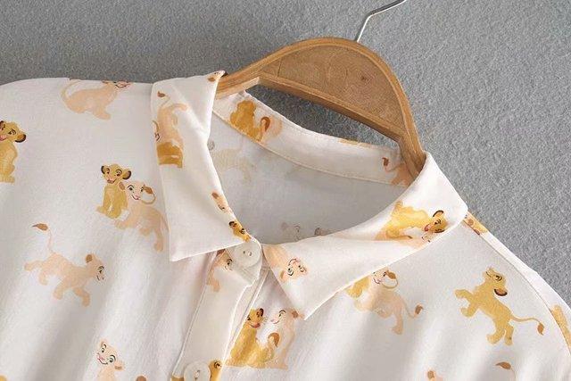 Fashion Short Dog Patterned Blouse