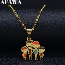 2019 Dad Mum and Son Daughter Stainless Steel Chain Necklace for Women Family Gold Color Necklaces Jewelry colgante N19381 2019 family stainless steel necklace women jewlery silver color dad mum and son statement necklace jewelry gargantilla n18018