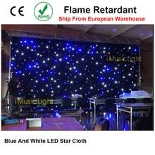 Cortina de led azul com estrelas, alta qualidade, led, azul de fundo branco, céu estrelado, controle dmx512 para palco, dj, casamento show de eventos