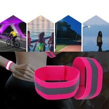Faixas reflexivas elástico braçadeira pulseira tornozelo tiras perna refletor de segurança fita cintas para noite jogging andando biking