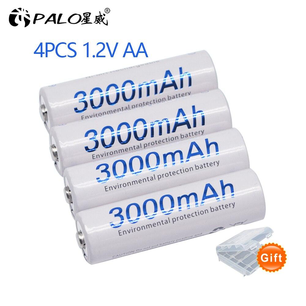 4 pièces AA batterie 1.2 V qualité NI-MH batterie Rechargeable AA 3000mAh PALO Rechargeable 2A batterie pour caméra aa chargeur de batterie