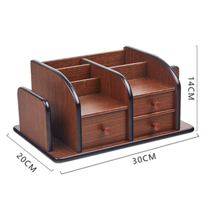 Image 2 - 多機能木製収納ボックスデスクトップオーガナイザーリモコンホルダー文具ペンホルダー化粧箱オフィス用品