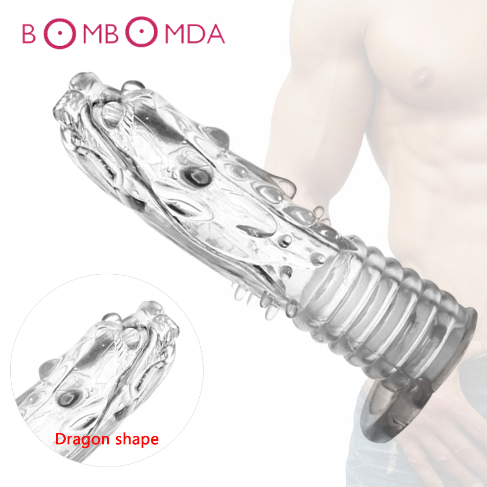 Male Reusable Penis Sleeves Cock Extender Penis Ring Condoms Penis Erection Erotic Toys For Men Dick Sleeve Adult Sex Products
