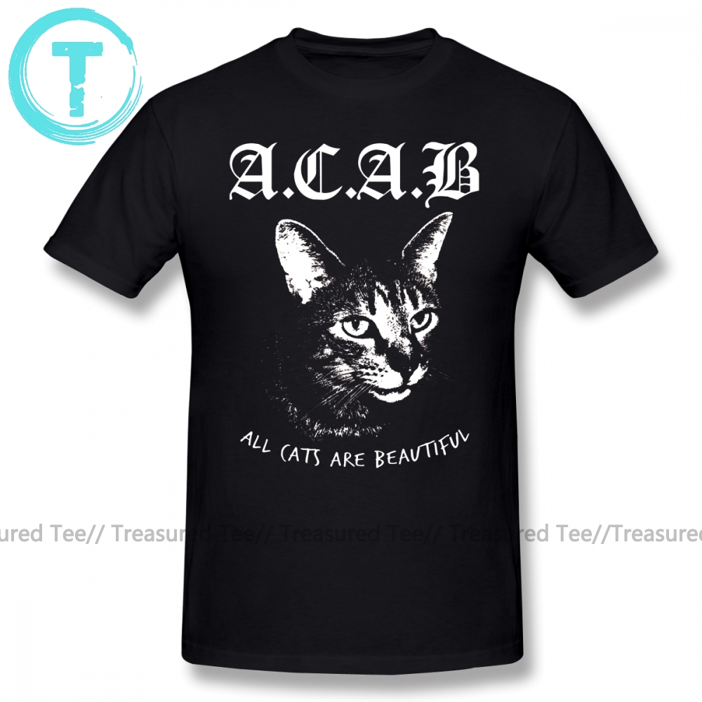 Acab T Shirt Cartoon Print ACAB T-Shirt 100 Percent Cotton 5x Tee Shirt Man Funny Casual Short-Sleeve Printed Streetwear Tshirt