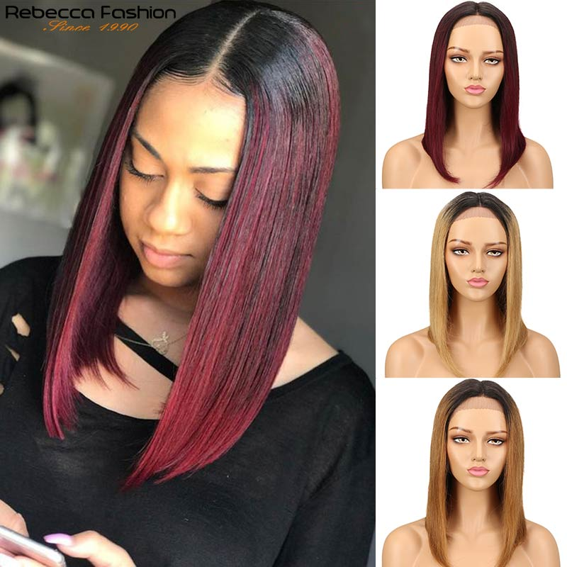 Rebecca lace front human hair wigs For Women Peruvian Remy Straight Hair Middle Part Wig Ombre Middle Length Bob Human hair Wig