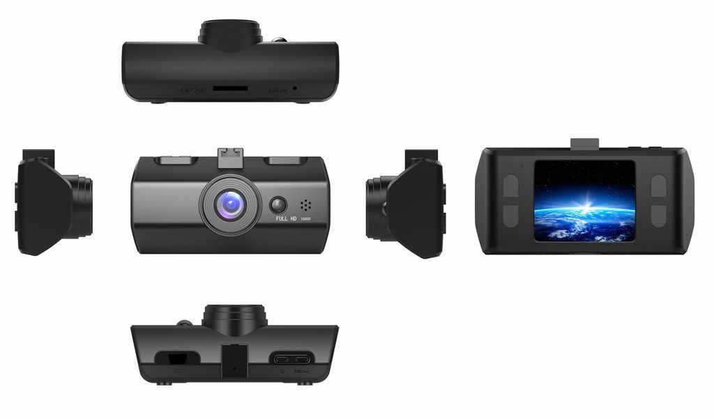 דאש מצלמת כפולה עדשת Full HD 1080P 1.7 IPS רכב DVR רכב מצלמה קדמי + אחורי ראיית לילה וידאו מקליט g-חיישן חניה מצב WDR