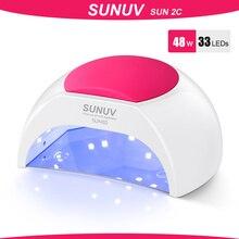 Sunuv SUN2C 48W Nagel Lamp Uv Lamp SUN2 Nail Droger Voor Uvled Gel Nail Droger Infrarood Sensor Met Rose siliconen Pad Salon Gebruik