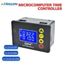 Zamanlayıcı röle AC 110-220V DC 12V 24V 1.37 ''LCD ekran mikrobilgisayar zaman kontrolörü geciktirme rölesi modülü-OFF kontrol 0000-9999S