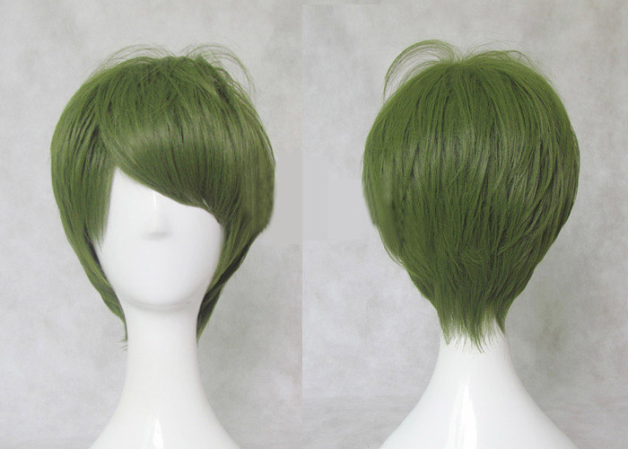 Kuroko's Basketball Midorima Shintaro Cosplay Wigs High-temperature Fiber Synthetic Hair Olive Green Short Hair + Free Hair Cap