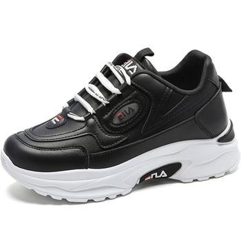 Zapatillas deportivas de suela gruesa de cuero para Mujer, zapatos de deporte...