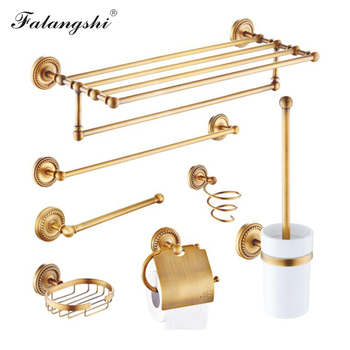 Antique Retro Bathroom Accessories Copper Brass Bathroom Hardware Towel Rack Hairdryer Holder Paper Holder Soap Dish Hook WB8801 buckingham palace antique british full copper double bar brass towel rack hanging bathroom accessories towel rails free shipping
