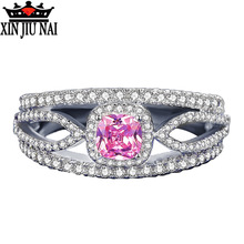 цены 925 sterling silver Pink girl Square CZ Cubic Zirconia Pave Fashion Women Elegant Luxury Wedding