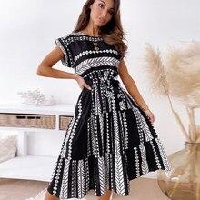 Elegant O-Neck Party Dress Women Fashion Sleeveless Lace-Up Belt Mini Sundress Summer Ladies Print A-Line Dress Female Vestidos