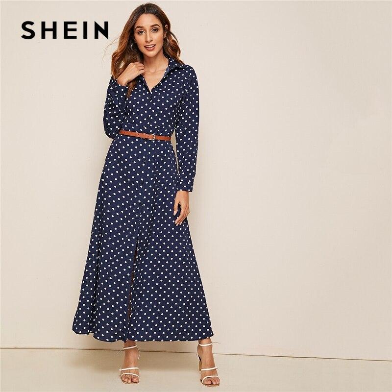 SHEIN Polka Dot Shirt Maxi Dress