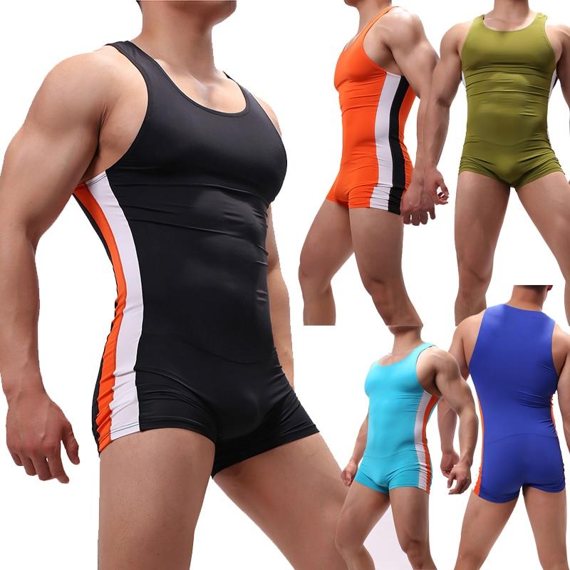 Sexy Mens Bodysuits Leotard Jumpsuits One-piece Wrestling Singlet Overalls Undershirts Shorts Bugle Pouch Male Underwear XL