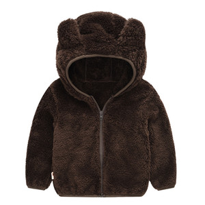 Image 5 - Soft Warm Polar Fleece Hooded Child Coat Baby Girls Boys Jackets Children Outerwear Clothing For 70 120cm Spring Autumn